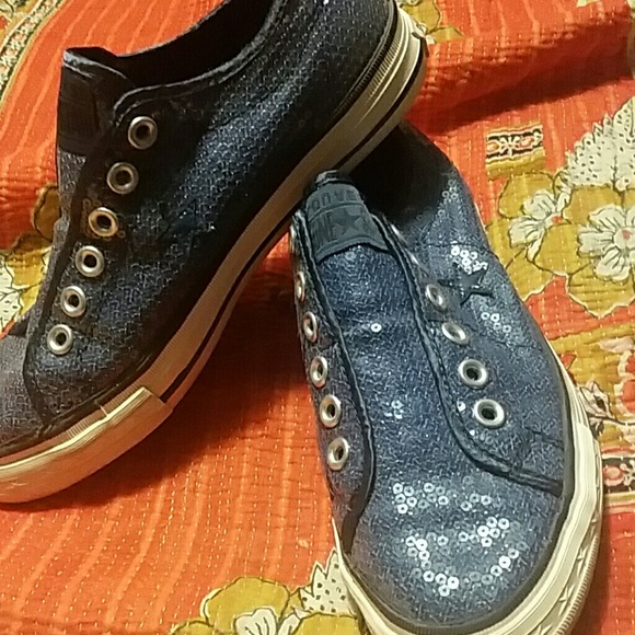 Converse Shoes - Converse One Star Sz 7.5 Denim Blue Sequins